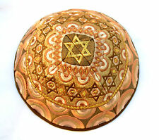 Kippah Yarmulke-Embroidered Kippas Star of David Rainbow Emanuel gold S-8""