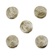 Enamelled Hypnotic Swirl Beige Round Metal Bead 19mm Pack of 5 (E86/7)