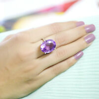 Natural Amethyst Ring Sterling Silver,Statement Oval Shape Everyday Wear Ring