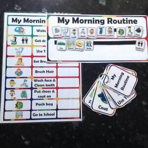 morning routine chart flashcards Autism ASD SEN educational visual reminder