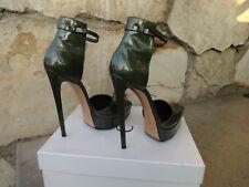 Casadei Skyhigh Ankle Strap Platform Pumps Patent Olive Green Leather EU size 10