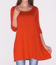 Plus Size 2X New 3/4 Sleeve Rust Orange Long Tunic Top Shirt Blouse Dress