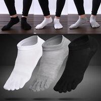 3 Pairs Men's five finger toe Breathe Socks Cotton Ankle Casual Sports Low Cut
