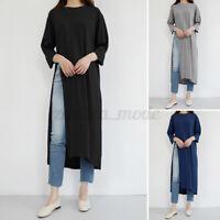 ZANZEA Women Casual Kaftan Long Shirt T-Shirt High Slit 3/4 Sleeve Tops Blouse