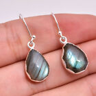 925 Sterling Silver Natural Blue Labradorite Women Dangle Earrings Pair Jewelry