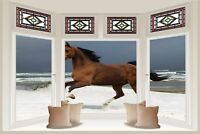 Huge 3D Bay Window Horse On Beach View Wall Stickers Mural Decal Wallpaper 261