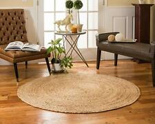 Handmade Indian Braided Jute Carpet Chindi Hand Woven Brown Round Shape