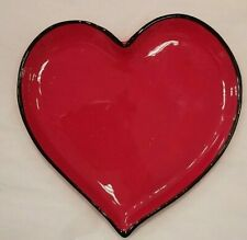 Happy Hearts - Set of 4 Red/Black Plates Valentines Decor Glass New