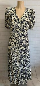 Beautiful Navy and Cream Floral V Neck Long Dress Size 8 - 20