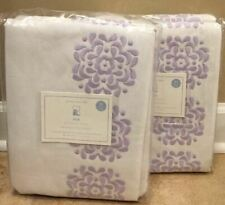 """NEW 2PC Pottery Barn Kids Mia Embroidered BLACKOUT 44x84"""" Panel LAVENDER"""