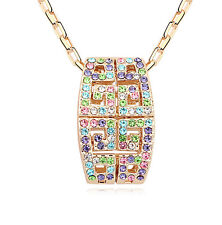 18K Gold GP Made With Swarovski Element Crystal Unique Geometric Necklace MultiC