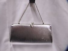 Silver Evening Bag with Silver Leaf Clasp Silver Vinyl Chain Strap Fancy Vintage