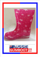 Kids Gumboots Pink Stars Size 4 5 6 7 8 9 10 11 12 13 Wellies Children Child NEW