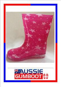Kids Gumboots Pink Stars Size 4 5 6 7 8 9 10 11 12 13 Wellies Children Child NEW