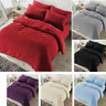 Plain Teddy Fleece Duvet Cover with Pillow Case Thermal Warm Bedding Set &Throws