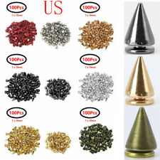US 100x_Spikes Punk Rivets Screw back Studs for Leather Shoes Craft Clothing Bag