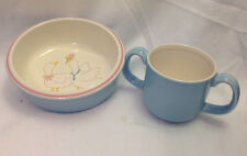 MIKASA FEATHERED FRIENDS DUCK CHILDS BOWL AND DOUBLE HANDLED MUG BLUE WHITE PINK