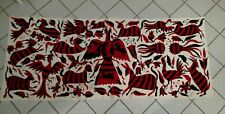 """Primative Hand stitched needlepoint fabric panel Red/Black animal motif 29 x 67"""""""