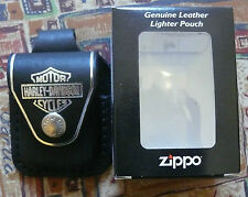 ZIPPO HARLEY DAVIDSON BLACK LEATHER POUCH WITH BELT LOOP FREE P&P