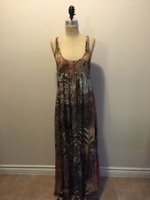 All Saints Zebra Print Brown Tan Green White Silk Maxi Dress Racer Back Sz 2