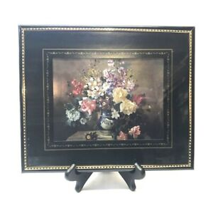Metalic Etched Foil Art Picture, Floral Bouquet Framed & Matted