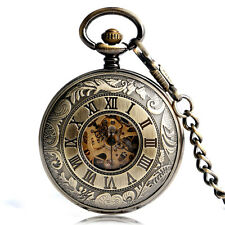 Antique Bronze Double Hunter Hand Wind Skeleton Mechanical Pocket Watch New Gift