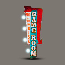 GAME ROOM  Off the Wall Tin Sign, Double sided  BIG BOLD LED
