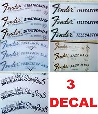 3 DECAL ADESIVO FENDER STRATOCASTER JAZZ PRECISION TELECASTER MUSTANG MUSICMAN