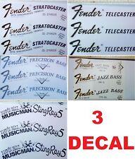 3 DECAL ADESIVO FENDER STRATOCASTER JAZZ PRECISION TELECASTER MUSTANG MUSICMAN