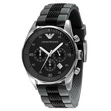 Nuevo EMPORIO ARMANI AR5866 Negro Y Reloj para hombres con Cronógrafo Silicona Gris Reino Unido