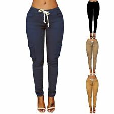 1 Pc Women Casual Solid Color Skinny Cargo Pants Pockets Drawstring Joggers Trou