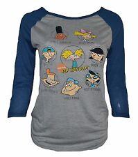 nickelodeon size XL women juniors gray heather HEY ARNOLD! TV SHOW raglan shirt