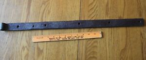 1 Rusty Wrought iron hinge strap barn decor Vintage Antique hand wrought 26""
