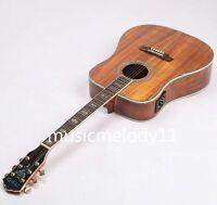 100% Handmade Electric Acoustic Guitar Full Koa Top Abalone Inlay Binding