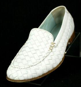 BOTTEGA VENETA White Intrecciato Woven Leather Flats Loafers 38.5