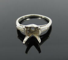 Vintage 0.30ct Diamond & Platinum for 2ct Round Semi Mount Engagement Ring