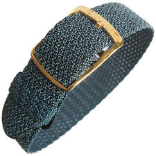 18mm EULIT Panama Blue Woven Nylon Perlon GOLD Buckle German Watch Band Strap