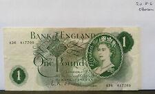 £ 1 una libra Nota década de 1960 L K O 'Brien-A36 417700-circulado (20.8.6)