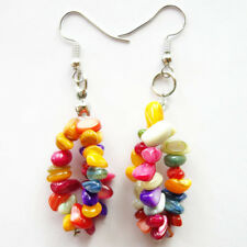 Natural GemStone multicolor shell freeform Stone 925 silver earrings
