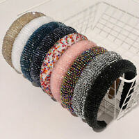 Women Lady Crystal Thick Sponge Headband Rhinestone Beaded Hair Band Accessories