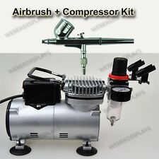 Dual Action Airbrush With 7 cc Cup + Air Compressor Set ART PAINT NAIL TATTOO