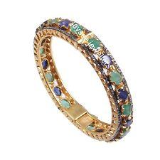 Amazing Beautiful Natural Emerald And Sapphire Victorian Style Diamond Bangle