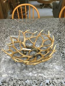 Faux Antler Large Display Serving Bowl. Rustic Lodge Deer Decor. New In Box.