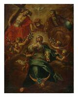 Barockgemälde - Krönung Mariens - Öl / Leinwand um 1680/1700  (# 12891)