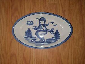 "M.A. Hadley Pottery 10.5"" Oval Platter - Skier"