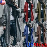 Women Knitted Sweater Cardigan Coat Ladies Long Sleeve Thick Long Jacket Outwear