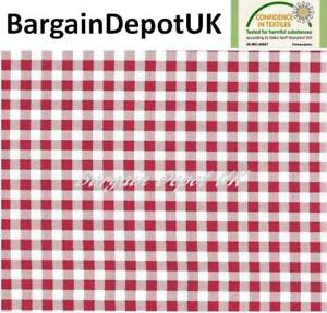 Red Check PVC Wipe Clean Vinyl Tablecloth ALL SIZES - Code: C16-2