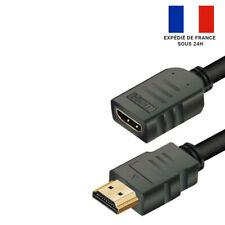 RALLONGE HDMI 2.0 PLAQUÉ OR / HD / PS4 / PS3 / XBOX / BLU RAY / TV / 2M