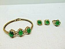 Green Stone Jade? & Clear Stone 3 Piece Set, Bracelet, Ring & Earrings ASIS #11p