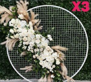 X3 WHITE MESH GRID MOONGATES 80cm + 100cm + 120cm HOOP WEDDING BALLOON EVENTS!